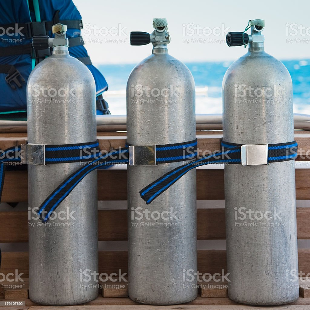 Aqualung Scuba Diving Underwater Oxygen Tank - Air Tanks stock photo