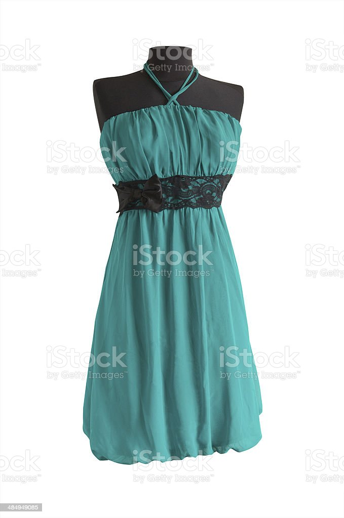 aquamarine dress with black belt on a mannequin stock photo