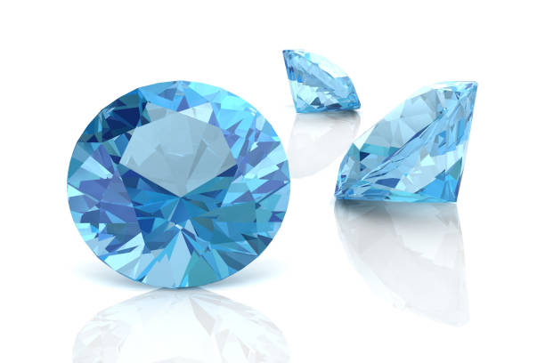 aquamarine(high resolution 3d image) - sapphire gemstone stock photos and pictures