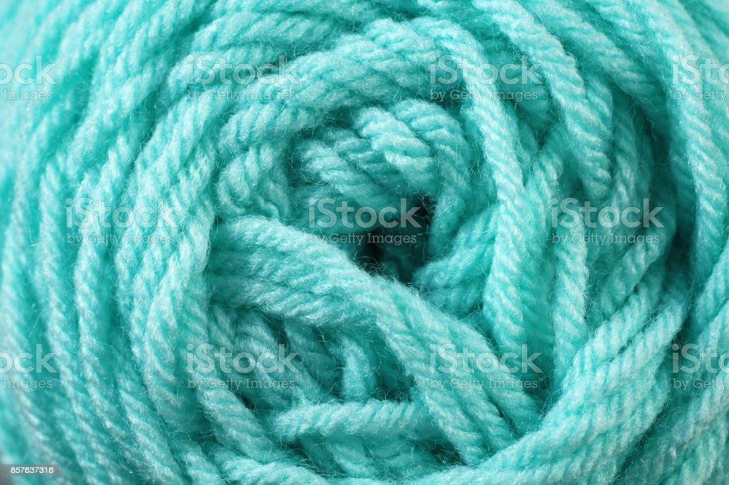 Aquamarine Yarn Texture Close Up stock photo