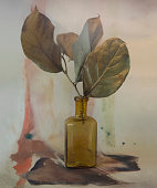 aquarell and a bottle and leaves