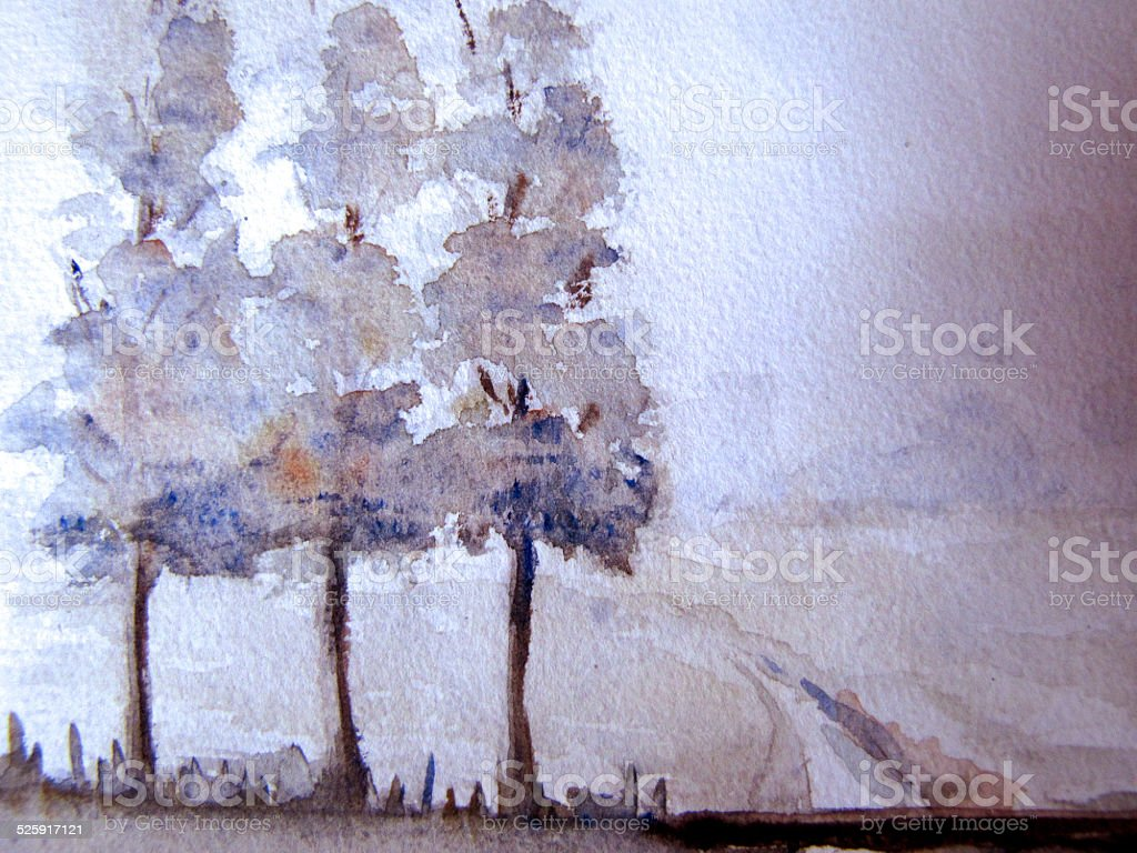 Aquarelle abstract watercolor Dutch landscape detail background cool colors trees stock photo