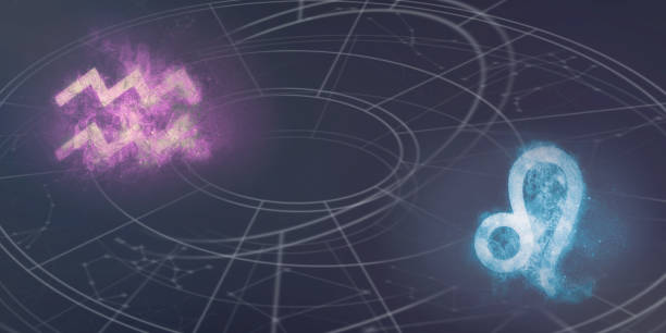 Aquarius and Leo horoscope signs compatibility. Night sky Abstract background. stock photo