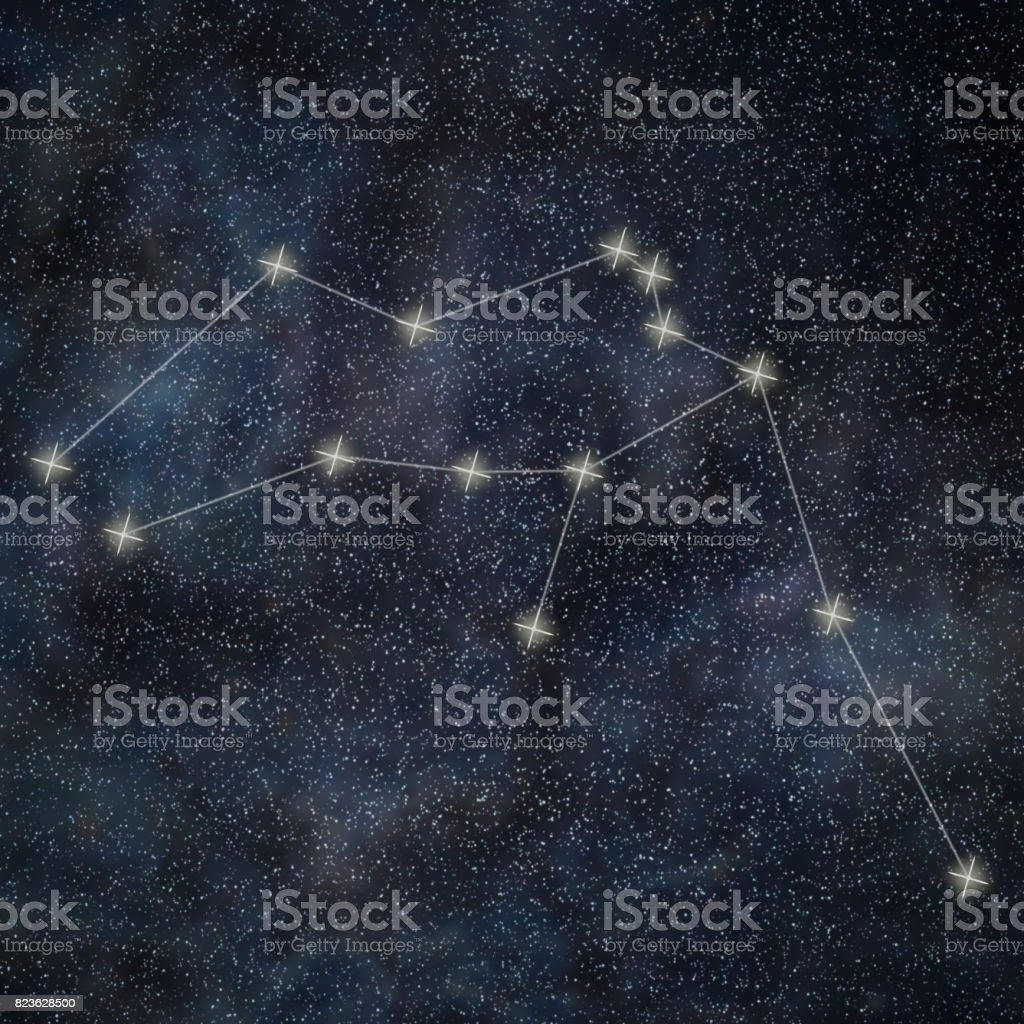 Aquarius Constellation. Zodiac Sign Aquarius constellation lines Galaxy background stock photo