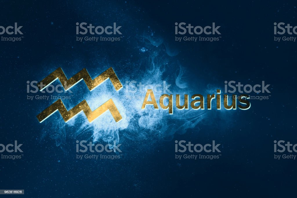 Aquarius Horoscope Sign. Abstract night sky background stock photo