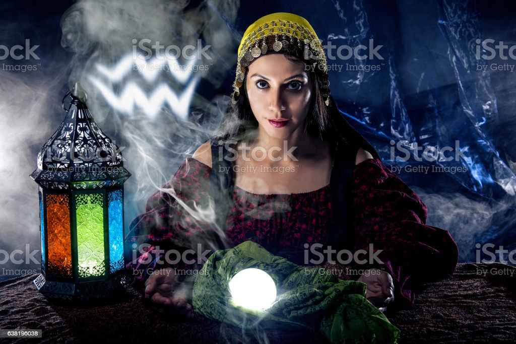 Aquarius Horoscope Zodiac Sign with Psychic or Fortune Teller stock photo