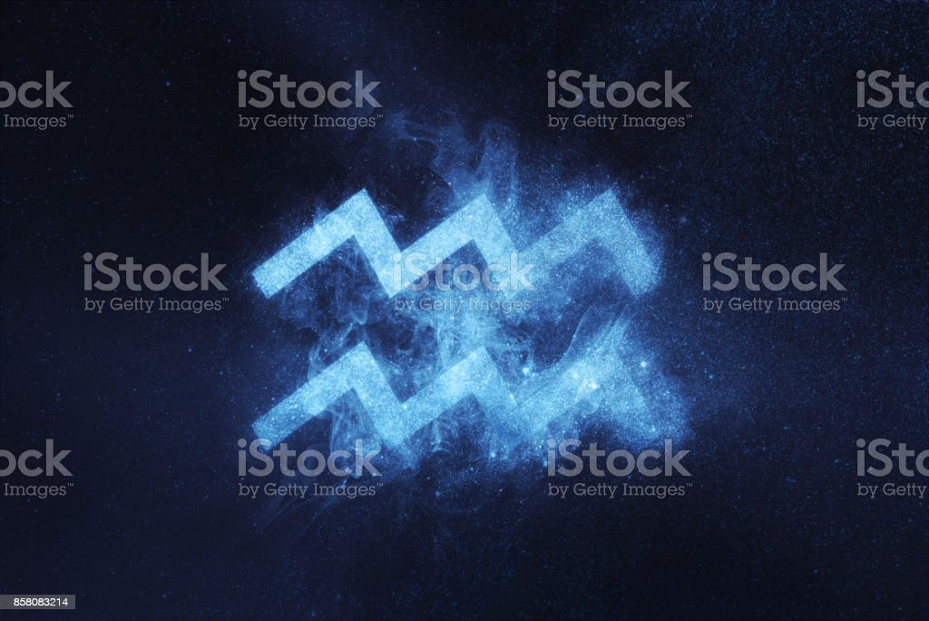 Aquarius Zodiac Sign. Abstract night sky background stock photo