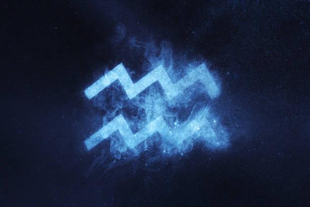 signe du zodiaque verseau. fond de ciel de nuit résumé - signes du zodiaque photos et images de collection