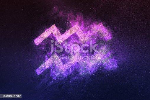 istock Aquarius Zodiac Sign. Night sky background 1039828732