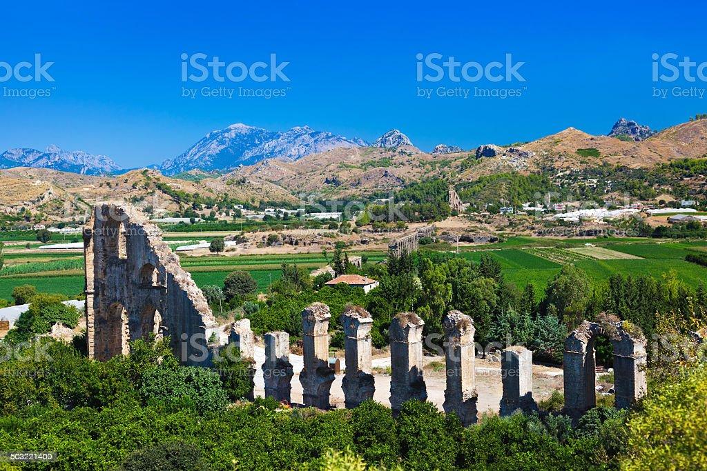 Aqueduct at Aspendos in Antalya Turkey stok fotoğrafı