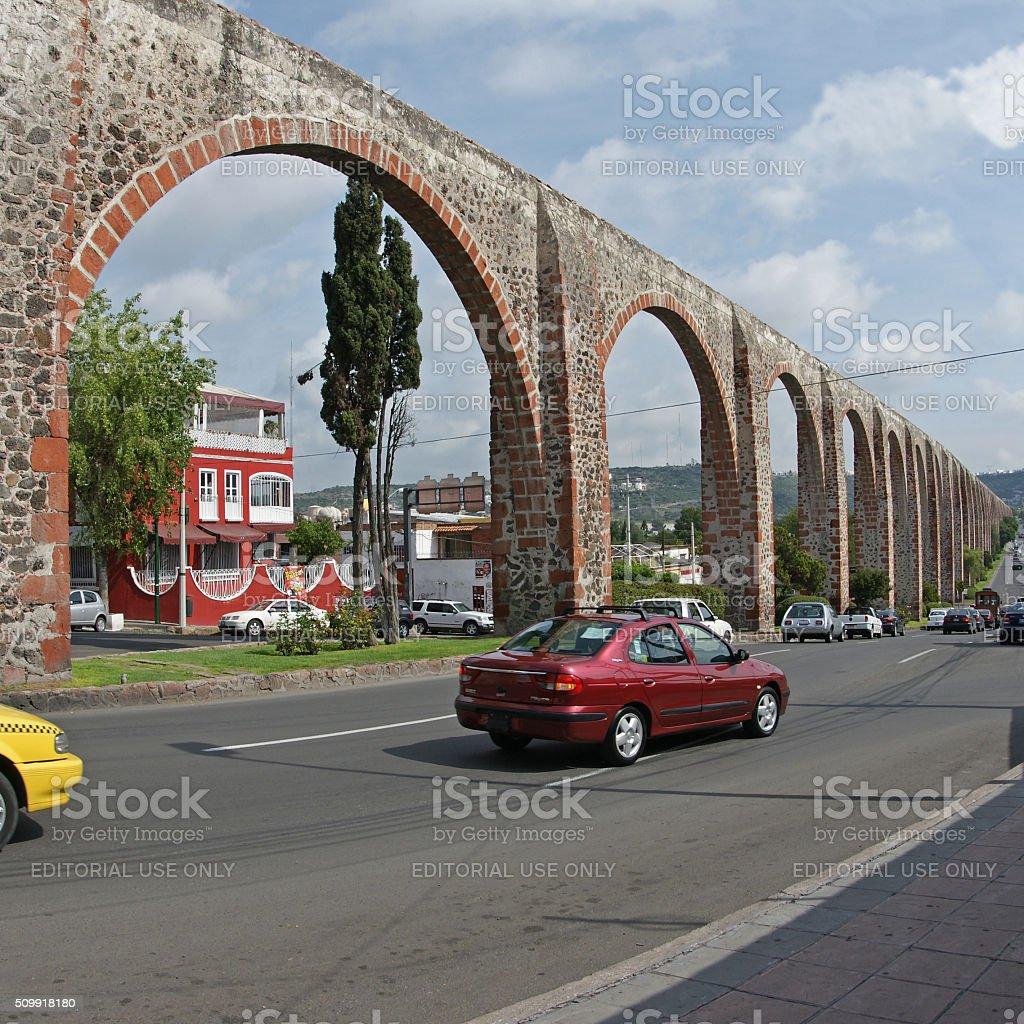 Aqueduct at Santiago de Queretaro, Mexico stock photo