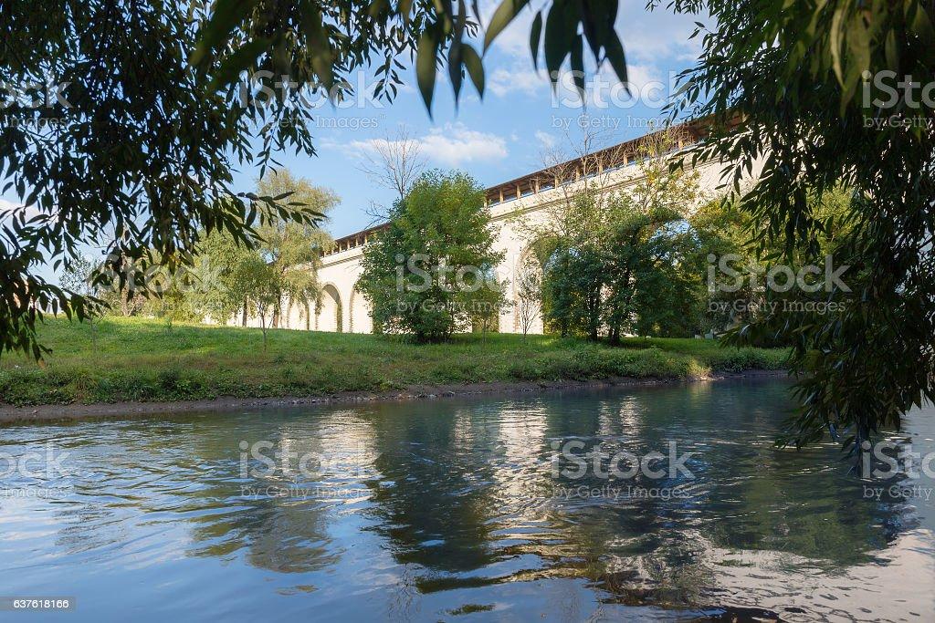 Aqueduct bridge across the river stock photo