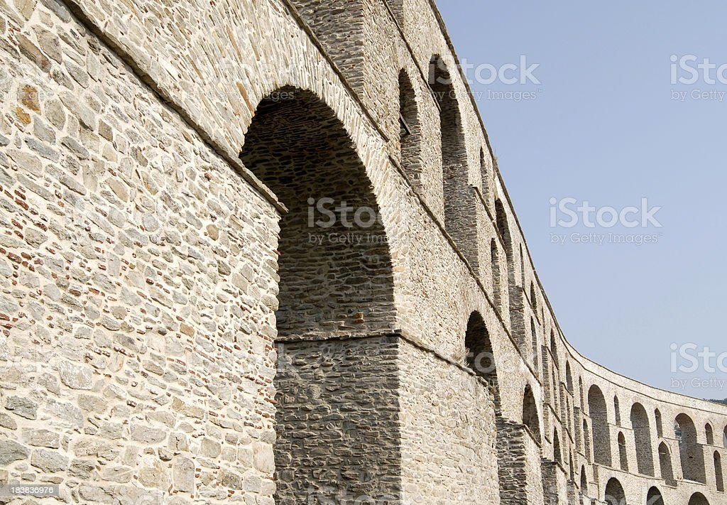 Aqueduct in Kavala, Greece royalty-free stock photo