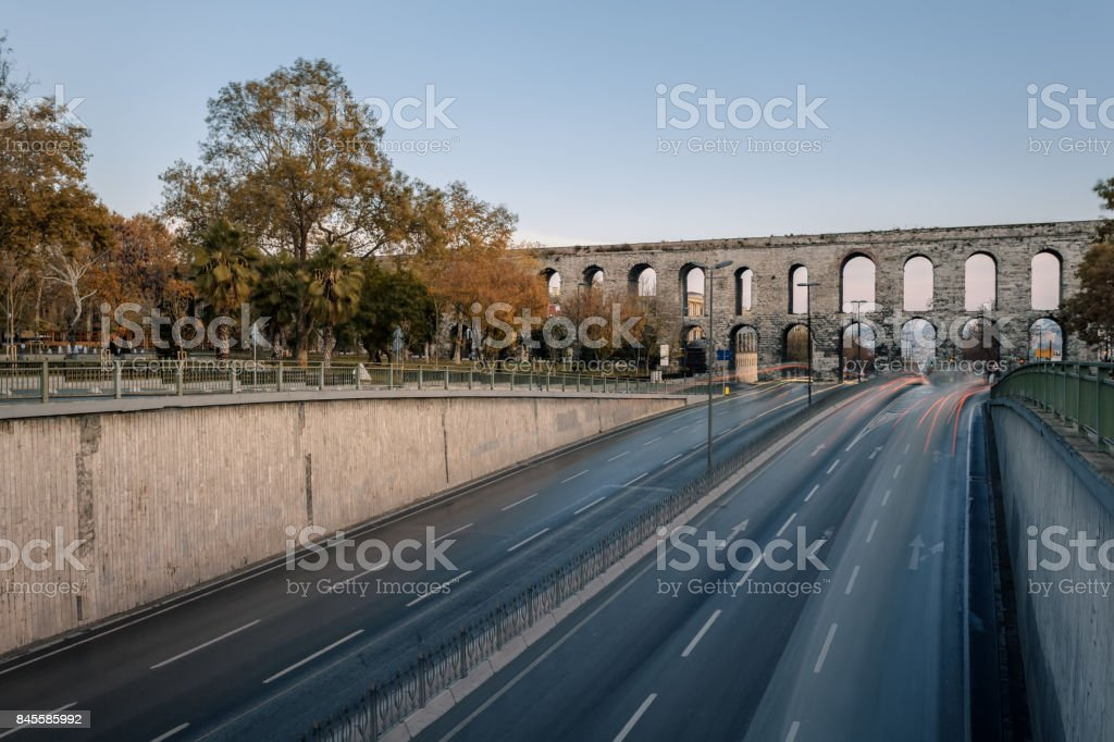 Aqueduct of Valens in Istanbul, Turkey. It was built by the emperor Valens in the late 4th century, and is one of the most important landmarks of the city. stock photo
