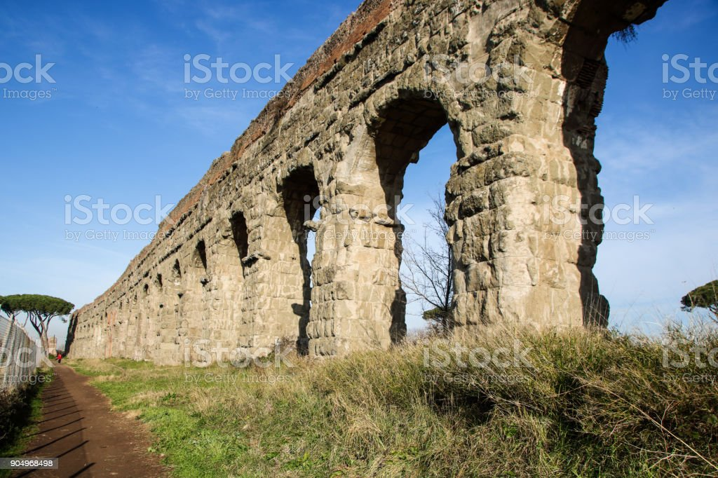 Aqueduct park on Appia street stock photo