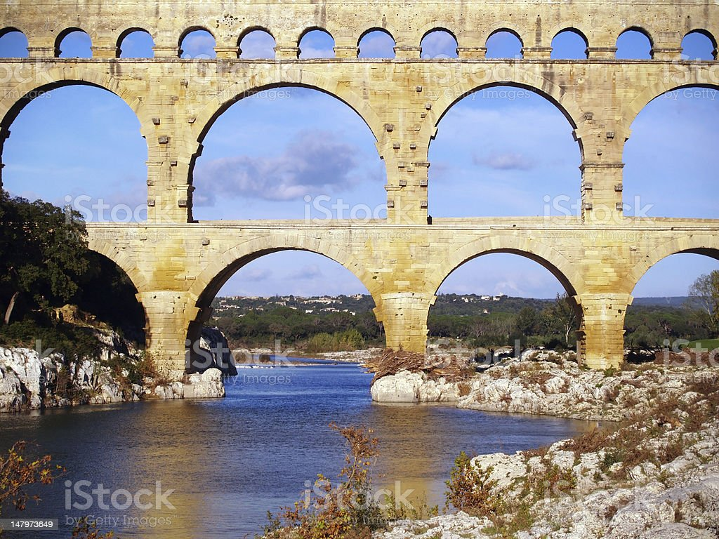 Aqueduct Pont du Gard royalty-free stock photo
