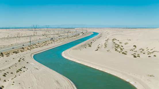 Aerial drone still of the All-American Canal snaking through Imperial County, California.