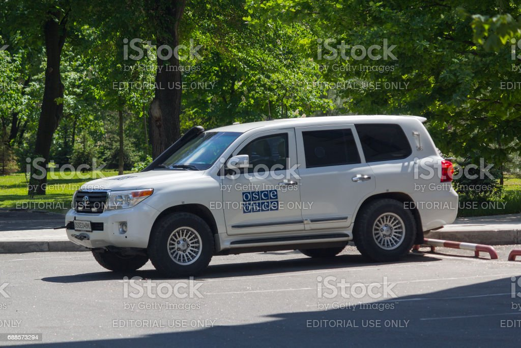 Сar of the OSCE mission working in f Ukraine stock photo