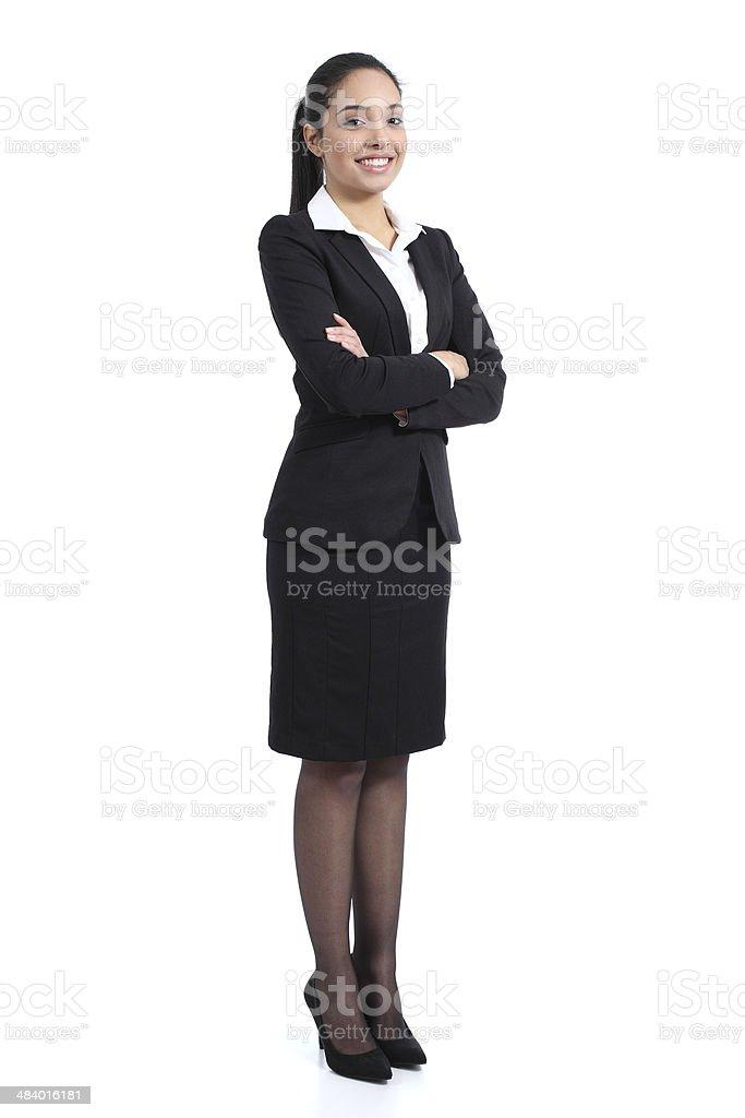 Arab negócios confiante mulher posando em pé, feliz foto de stock royalty-free