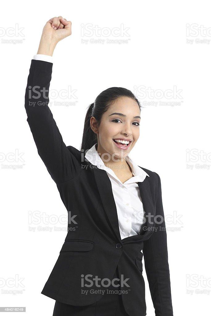 Arab business woman euphoric raising arm stock photo