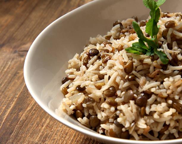Arab dish Majadra: Green Lentils and Rice. stock photo
