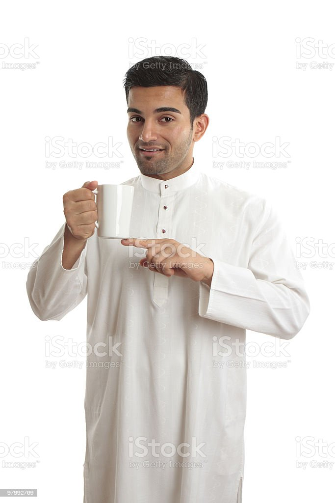 Arab ethnic man showing coffee royalty free stockfoto