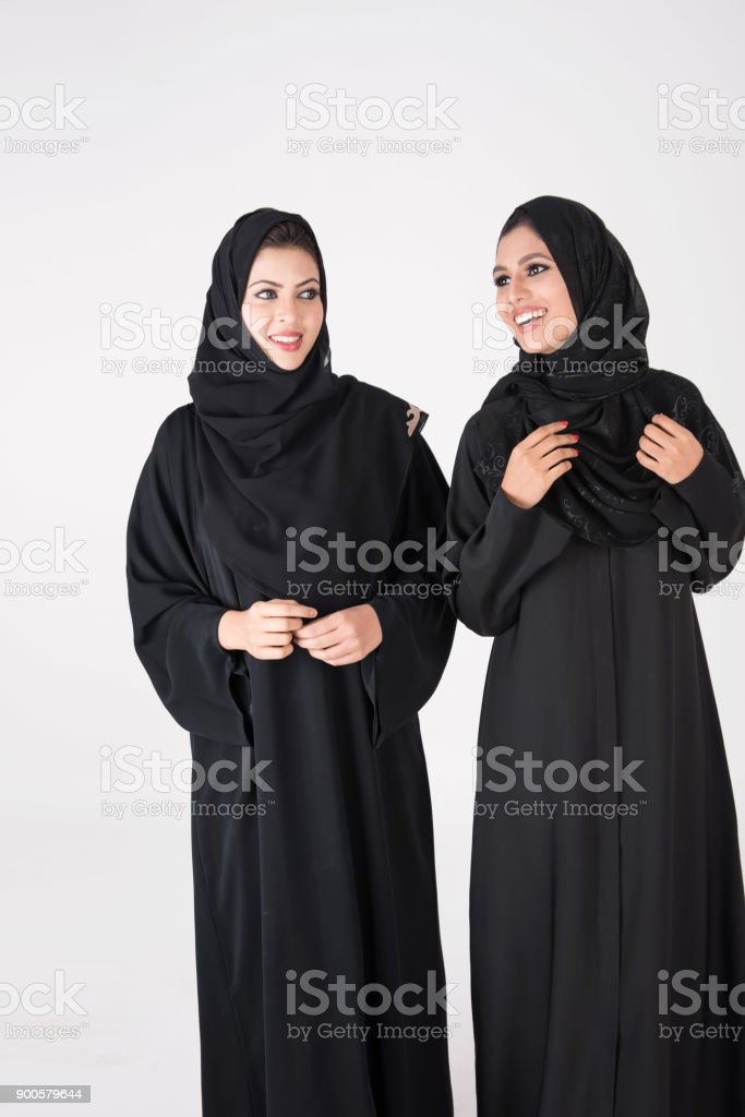 Arab females smiling stock photo