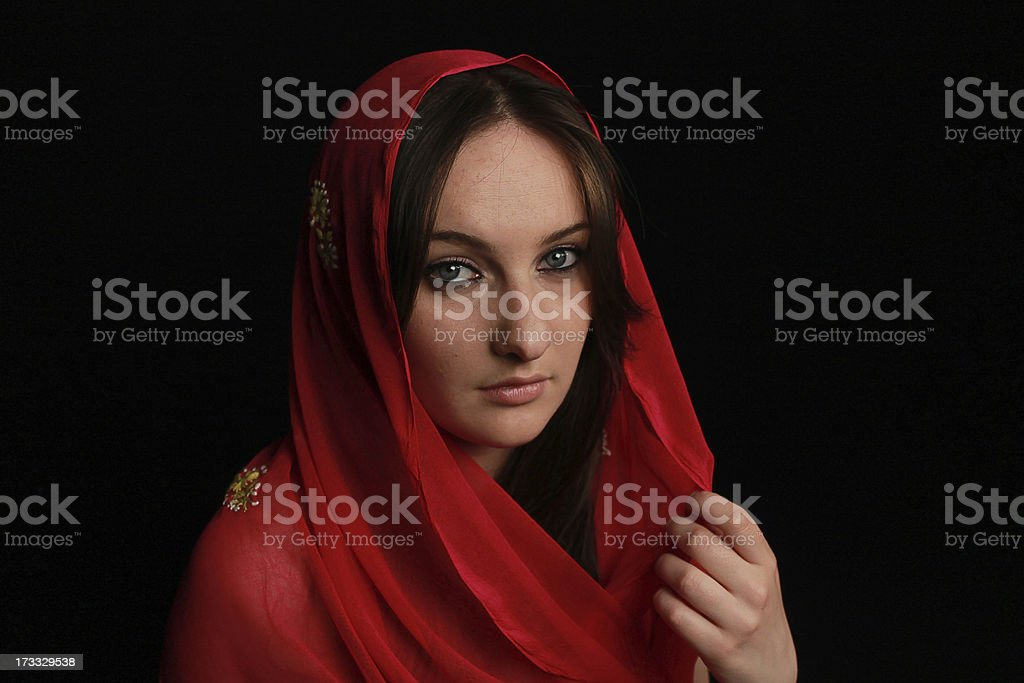 Arab girl with blue eyes royalty-free stock photo
