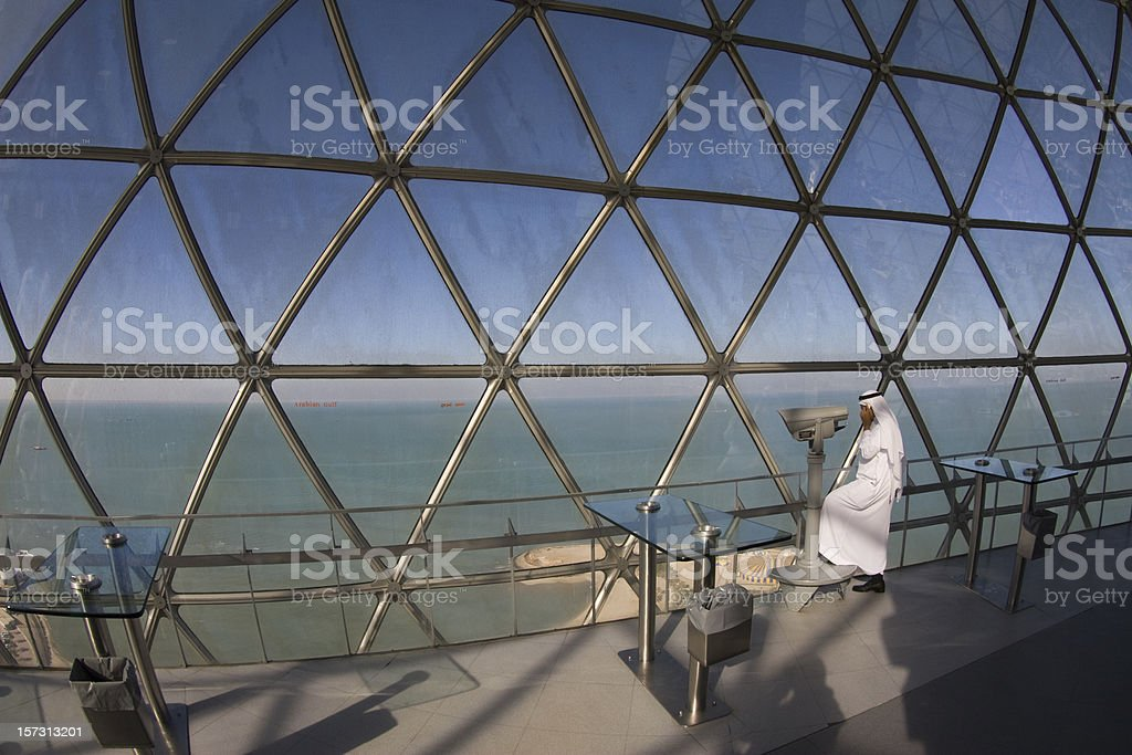 Arab in Kuwait Towers stock photo