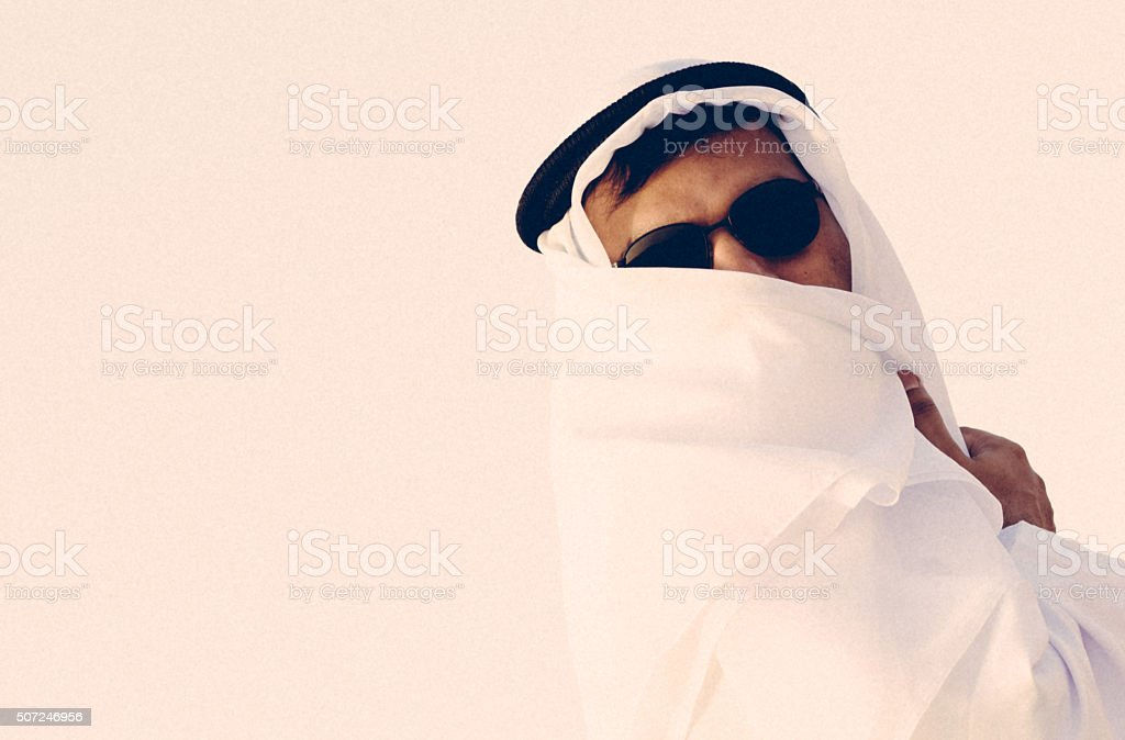 Arab in traditional dress stock photo