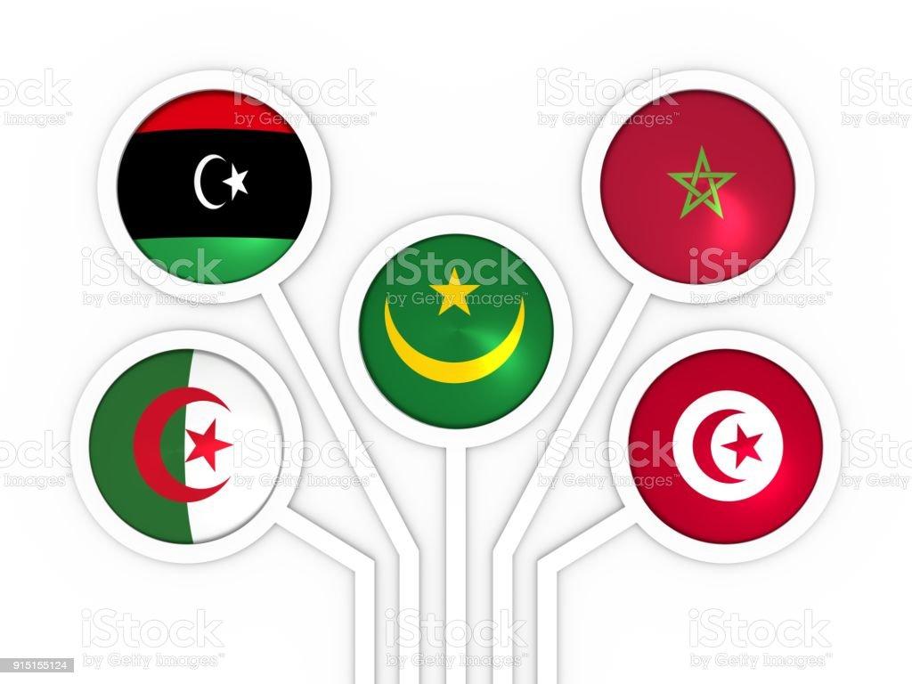 Arab Maghreb Union members stock photo