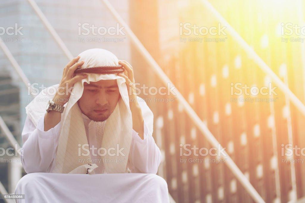 Arab man are stress royalty-free stock photo
