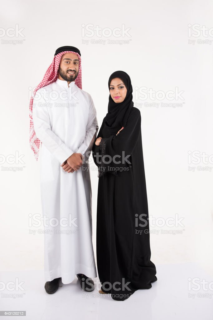 Arab muslim couple in traditional dress stock photo