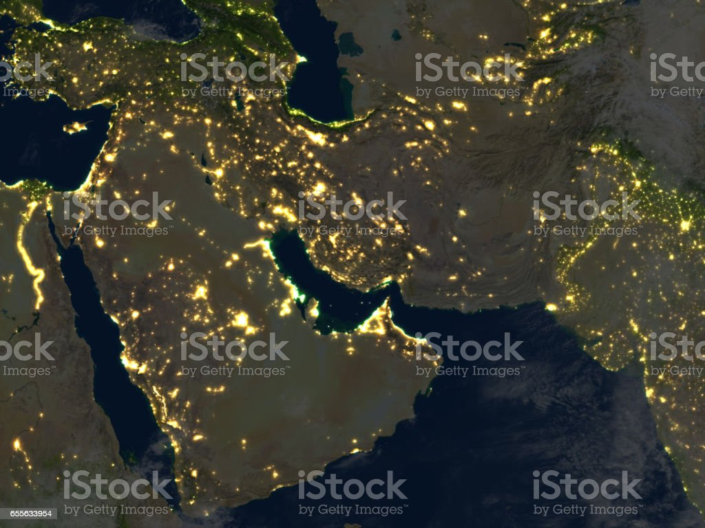 Arab Peninsula at night on planet Earth stock photo