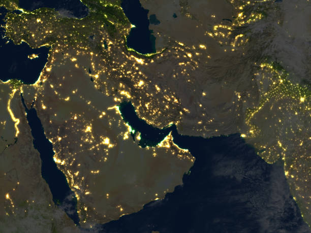 arab peninsula at night on planet earth - saudi arabia map stock photos and pictures