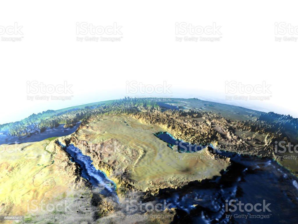 Arab Peninsula on Earth - visible ocean floor stock photo