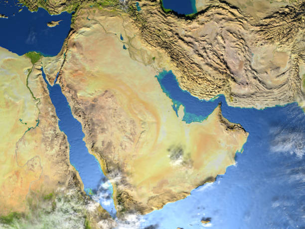 arab peninsula on planet earth - saudi arabia map stock photos and pictures