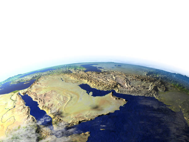 arab peninsula on realistic model of earth - saudi arabia map stock photos and pictures
