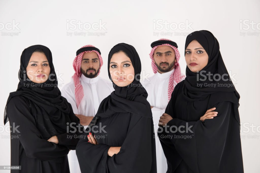 Arab people standing on white background stock photo
