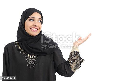 istock Arab saudi emirates woman promoter presenting looking at side 491249073