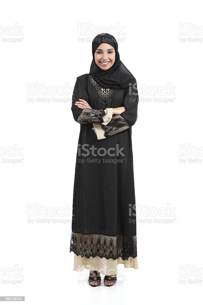 Arab Arábia mulher posando em pé, feliz foto royalty-free