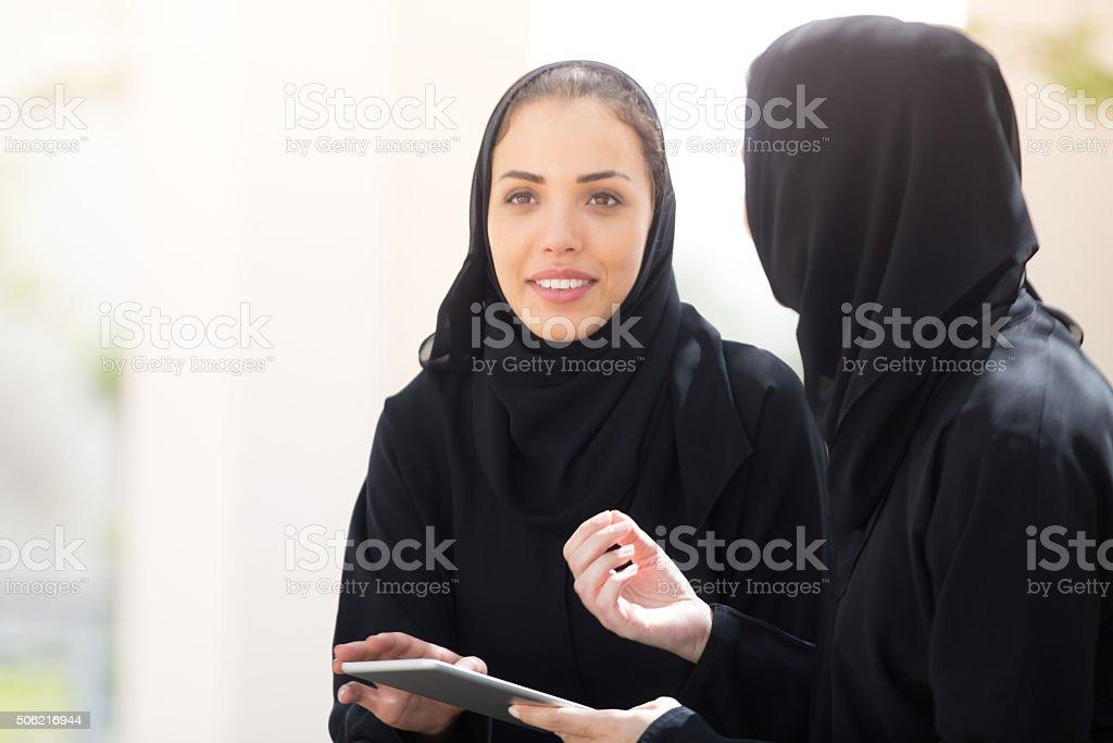 Arab Students in University Campus stock photo