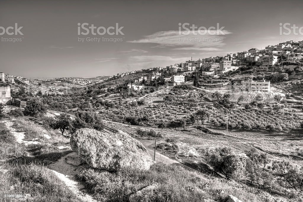 Arab Village of Sur Baher in Jerusalem stock photo