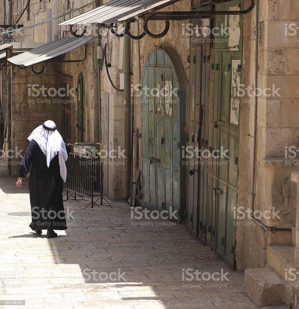 Arab walking in Jerusalem royalty-free stock photo