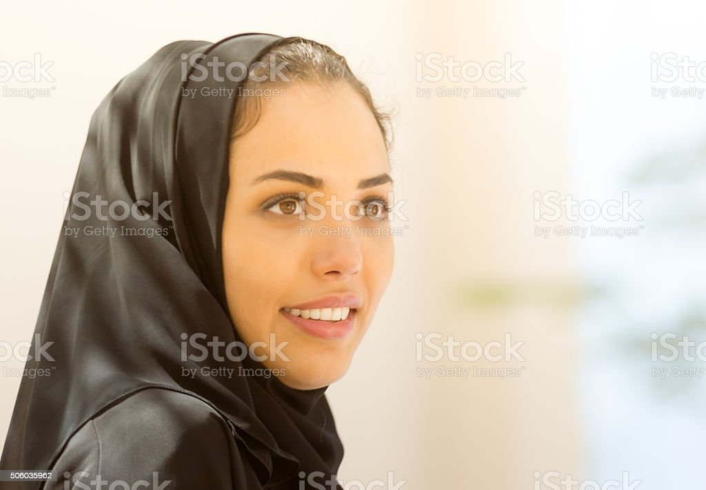 Close up image of a Emirati Woman with copy space. Image from...