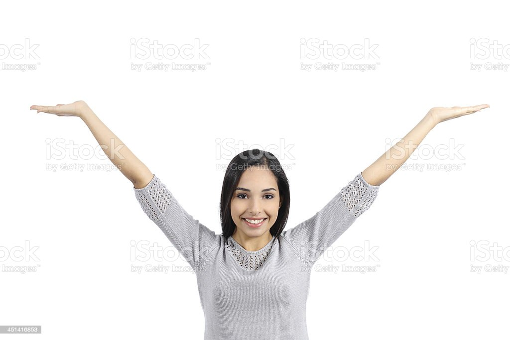 Arab woman holding an advertising raising arms stock photo