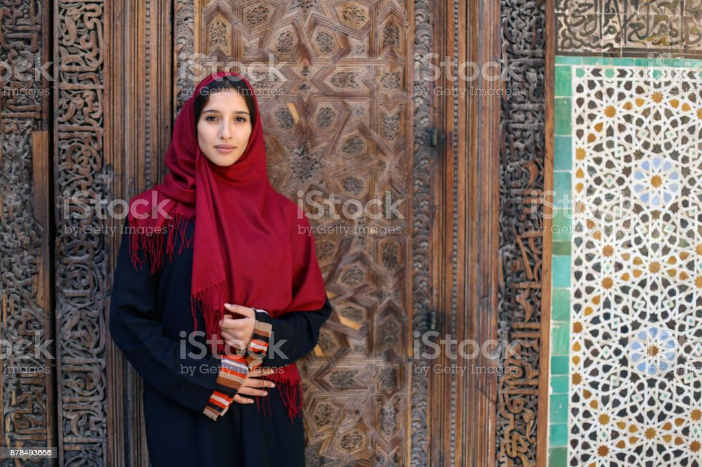 Arab woman in traditional clothing stock photo