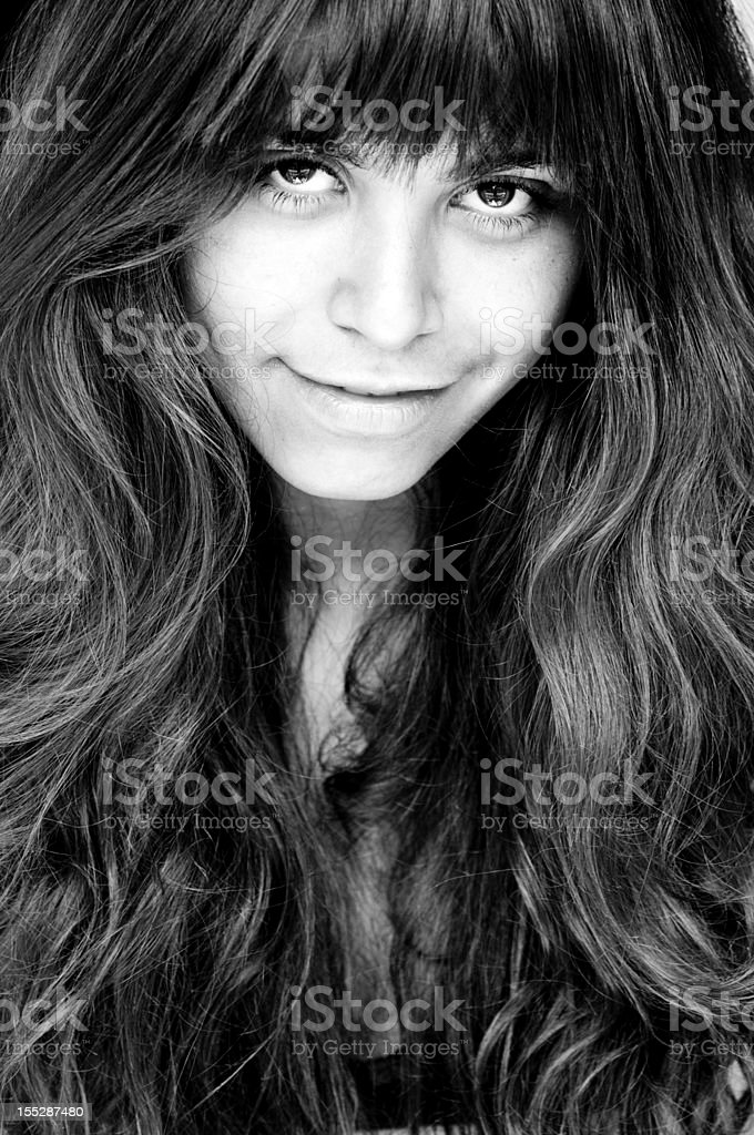 Arab woman with beautiful eyes and long black hair royalty-free stock photo