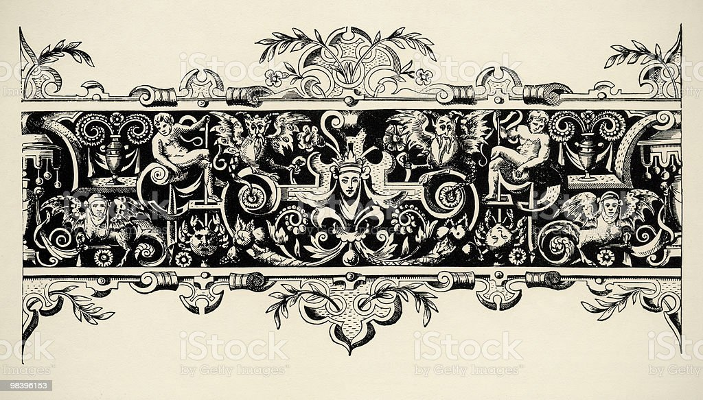 Arabesque, renaissance . Engraving of 16 century. Copyright expired. royalty-free stock photo