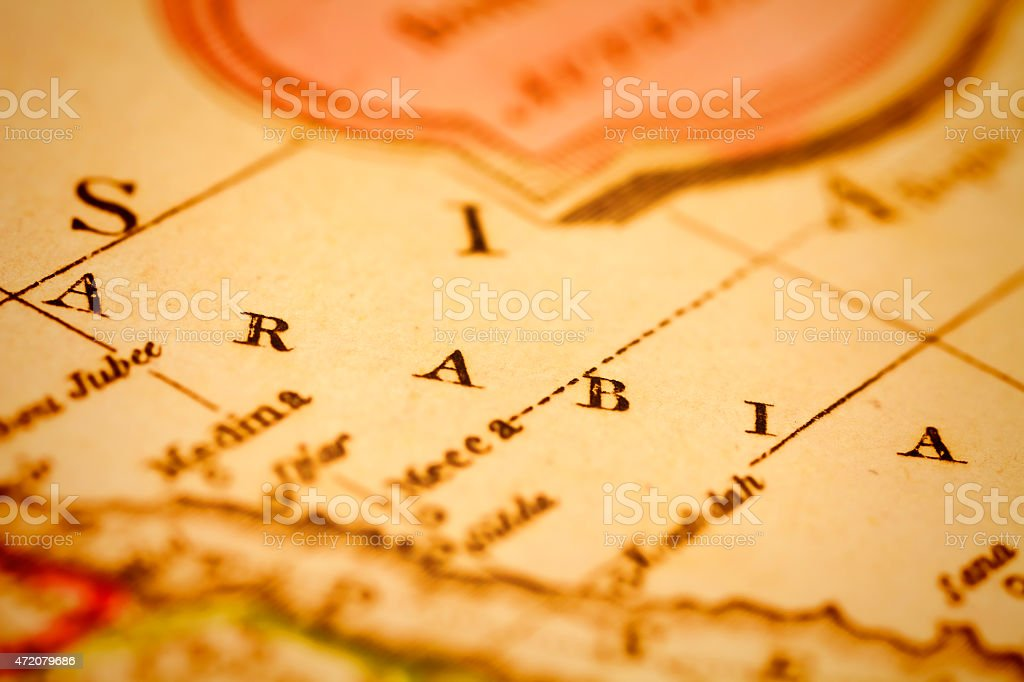 Arabia on an antique map stock photo
